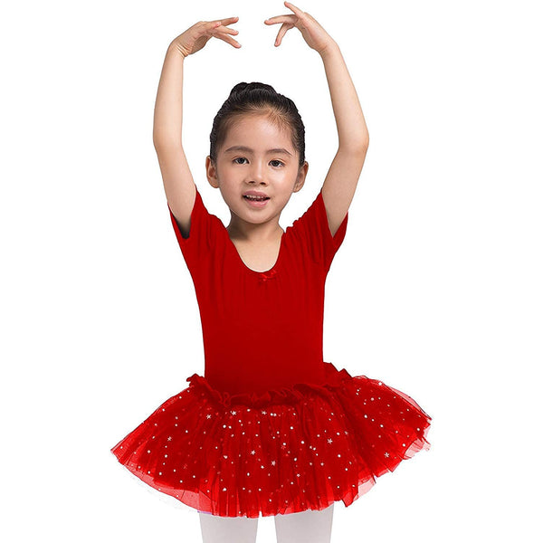 Dancina Leotard Sparkle Tutu Dress Short Sleeve Red