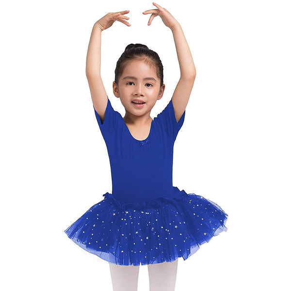 Dancina Leotard Sparkle Tutu Dress Short Sleeve