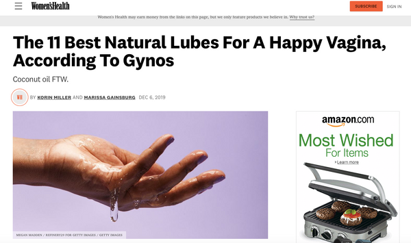 WOMEN'S HEALTH - The 11 Best Natural Lubes For A Happy Vagina, According To Gynos