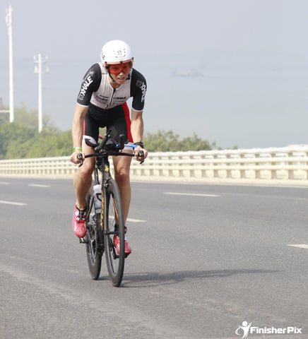 Caroline racing at Xiamen 70.3
