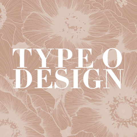 type o design blush pink logo with white floral illustration
