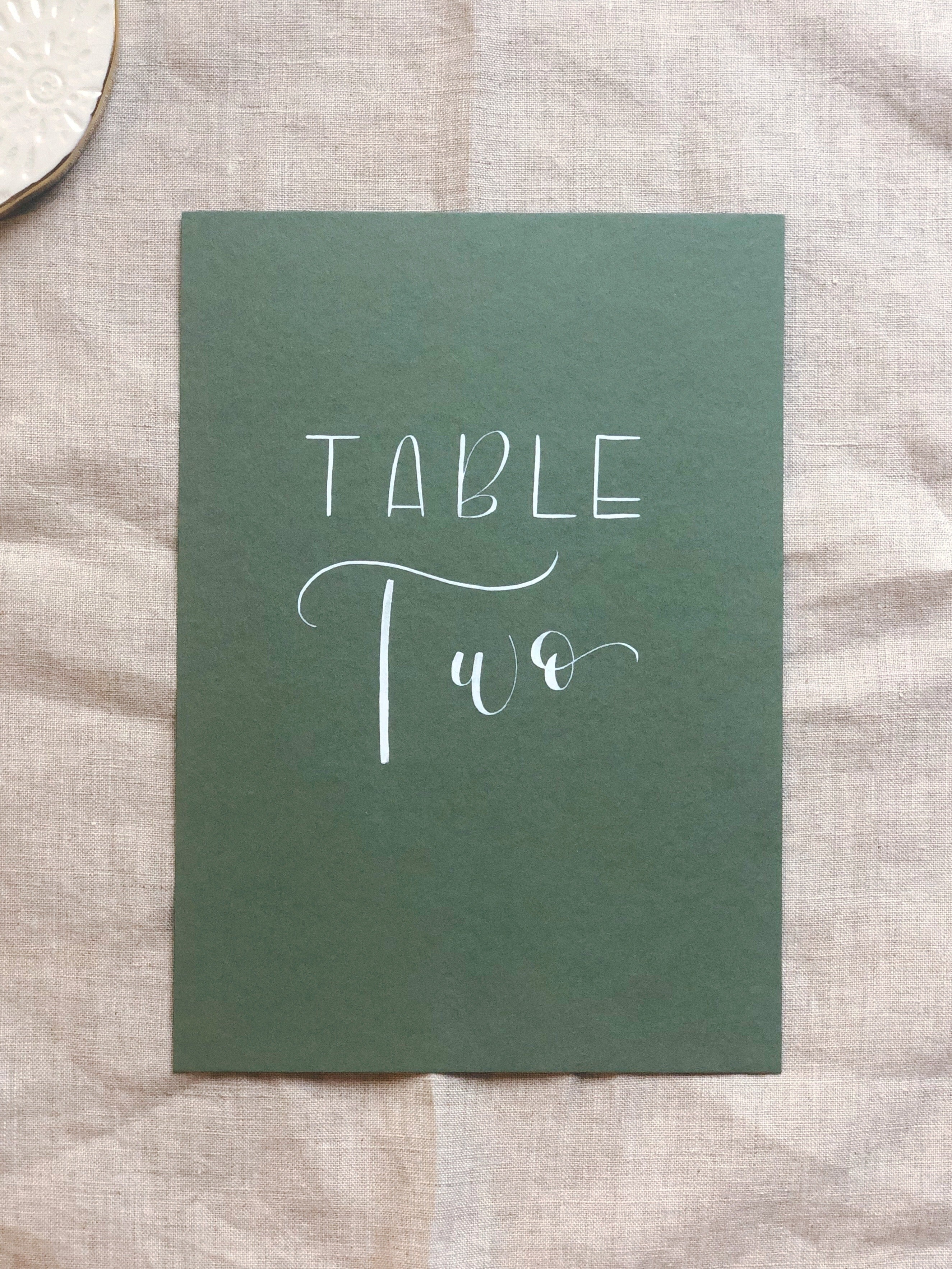 Handwritten table numbers