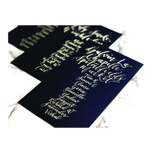 navy seating chart cards with gold calligraphy