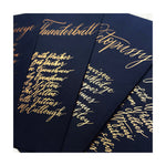 navy seating chart cards with gold calligraphy 3