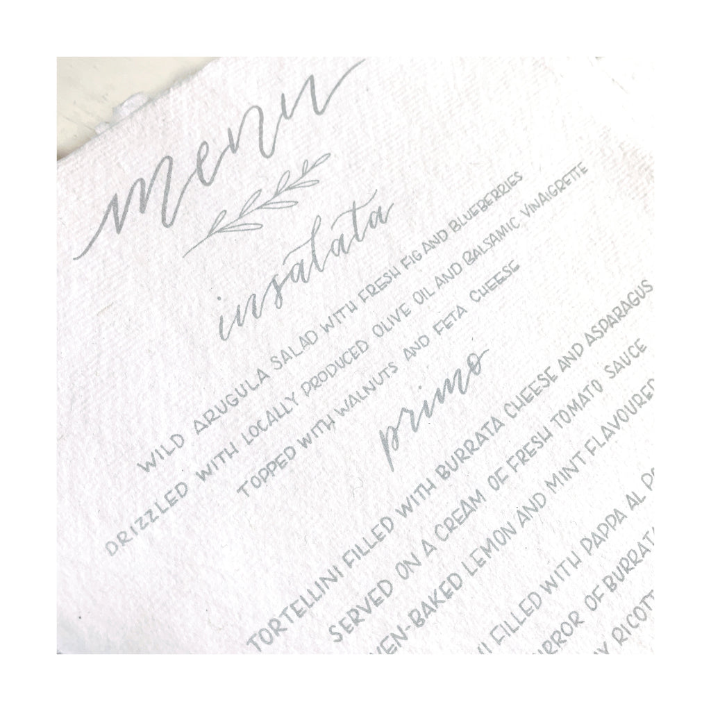 Cotton paper menu