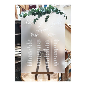 frosted acrylic handwritten wedding seating plan