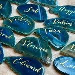 Blue agate wedding place cards