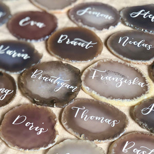 Natural agate wedding place cards