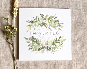 green watercolour wreath birthday card
