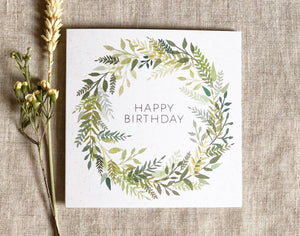 green watercolour wreath birthday card 2