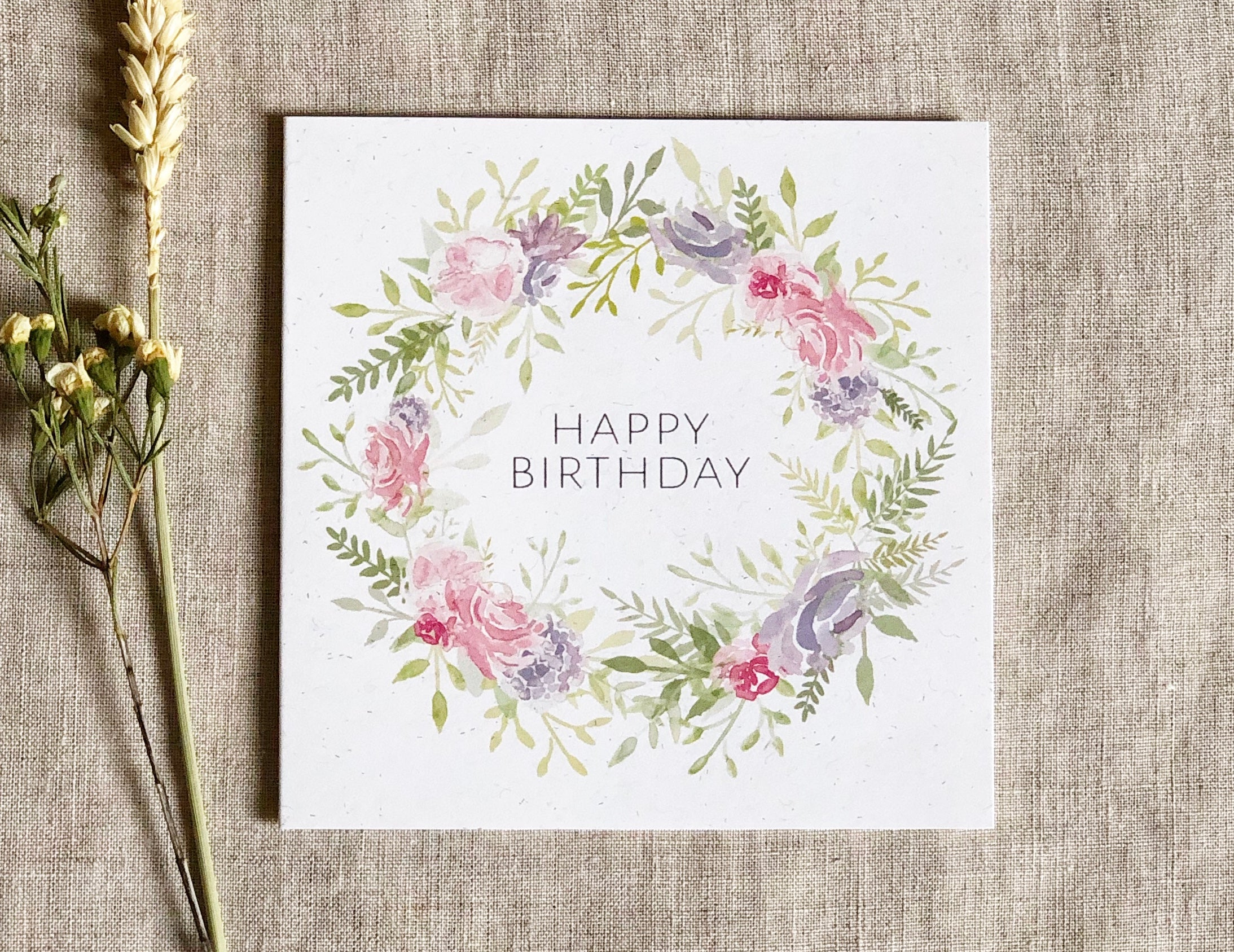 pink floral watercolour wreath birthday card