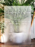 Frosted acrylic wedding seating plan