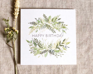 Botanical watercolour birthday card