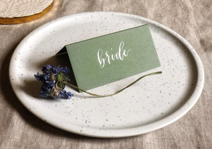 Sage green wedding place cards