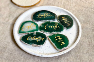 natural green agate slices with gold calligraphy as table setting 2