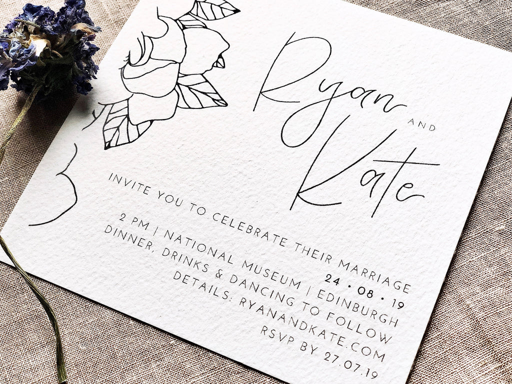 Minimalist wedding invitations