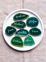 Green agate wedding place cards