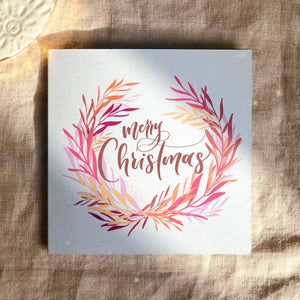 5/pk botanical Merry Christmas greeting cards