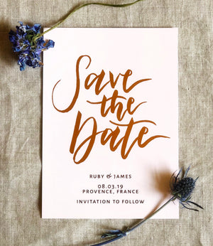 blush pink and copper foil save the date card 2