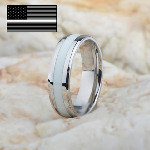 EMS Thin White Line inspired Ring The Tee Drop