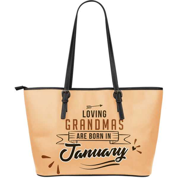 January Grandmas Leather Tote Bag