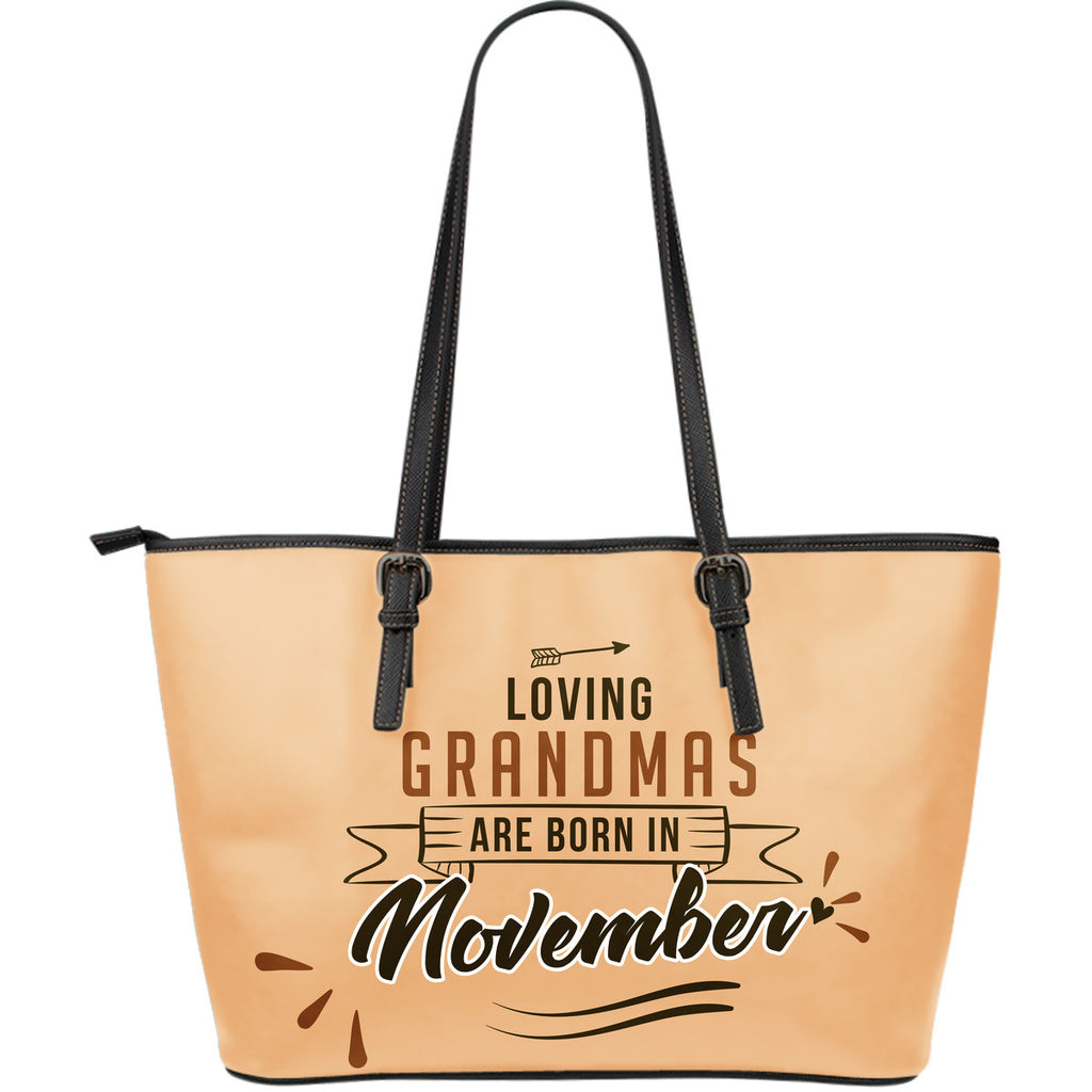 November Grandmas Leather Tote Bag