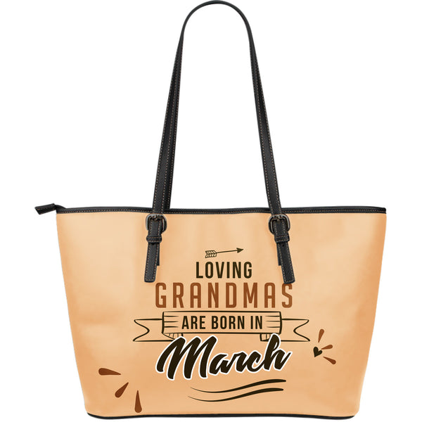 March Grandmas Leather Tote Bag