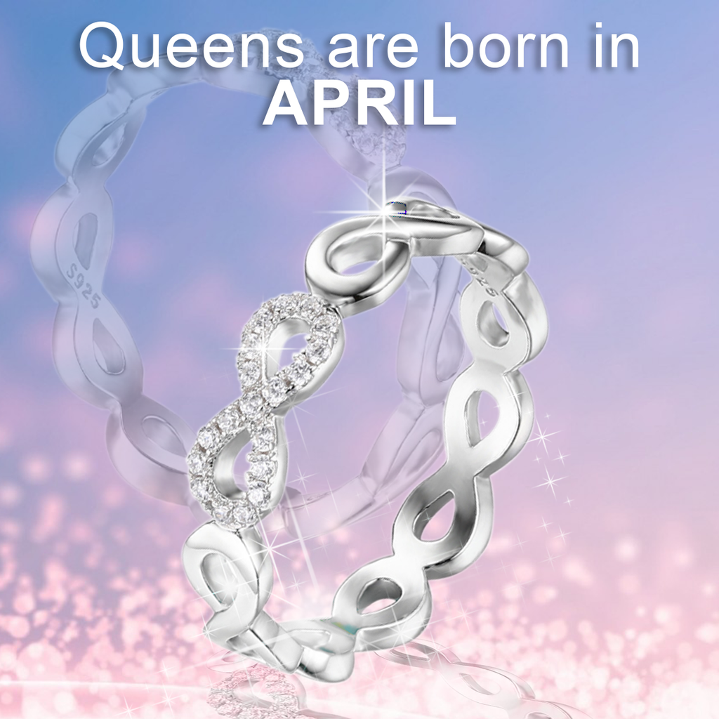 April Birthstone Infinity Ring