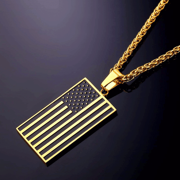Subdued American Flag Necklace (18K Gold Plated)