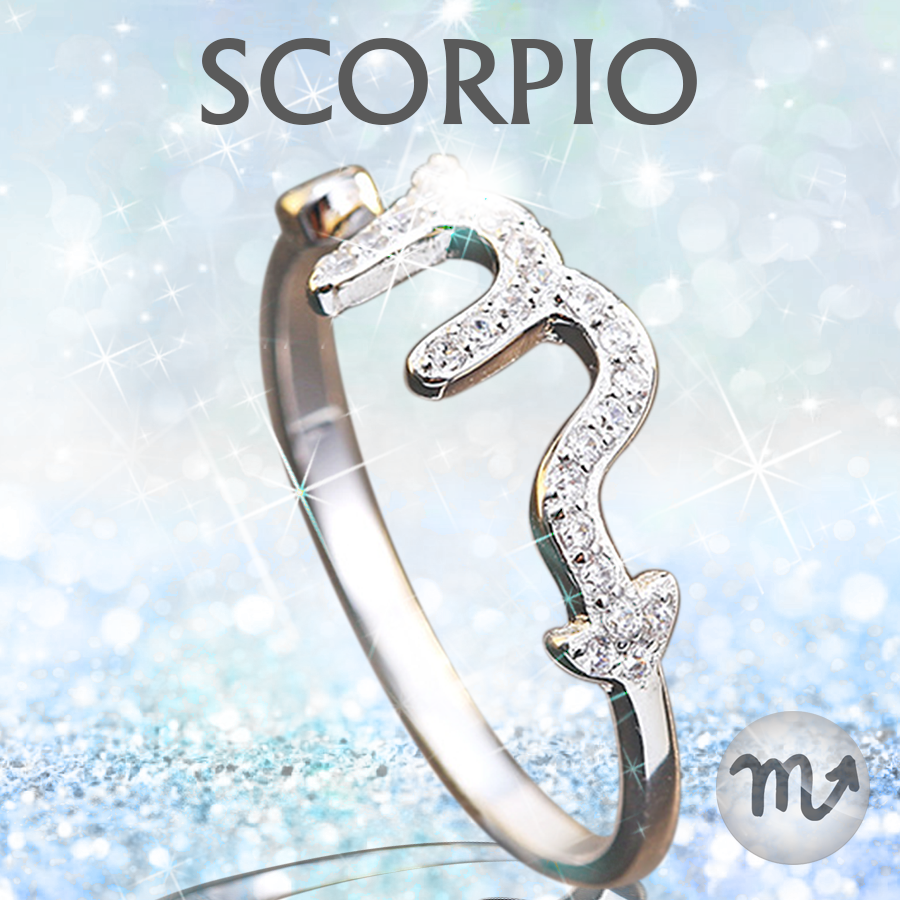 zoraida crop silver front center catherine ring collections zodiac rings scorpio aquarius