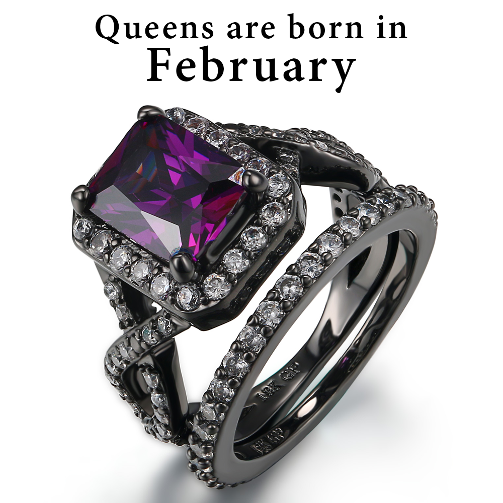February Birthstone Amethyst Premium Ring