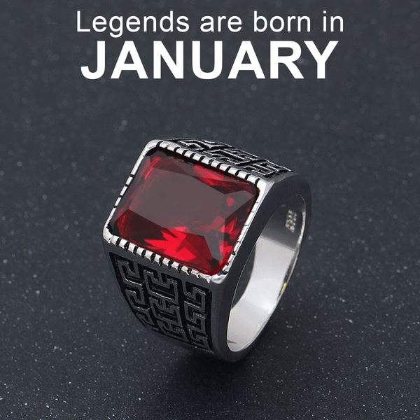 January Birthstone Band (Garnet)