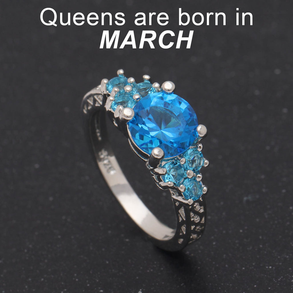 aquamarine birthstone march ring rings products