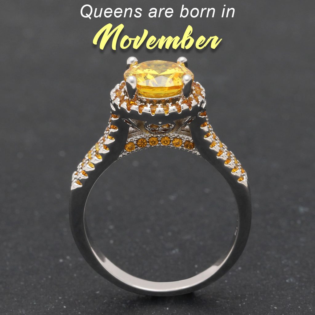 November Birthstone (Citrine cz Ring)
