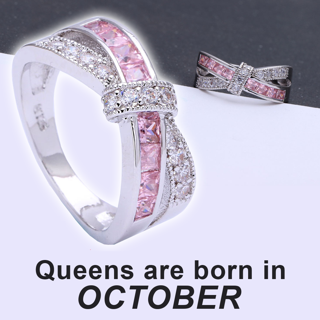 October Birthstone Tourmaline cz Ring