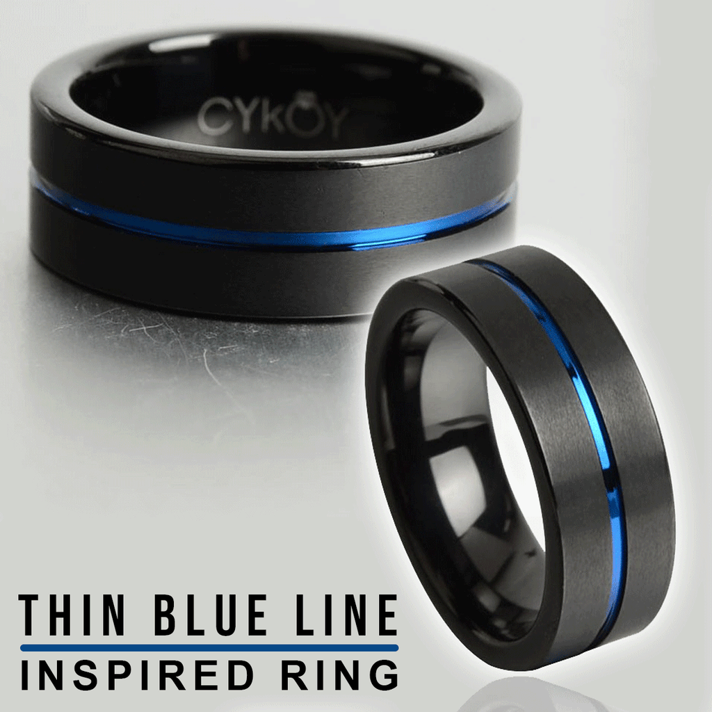 Thin Blue Line 8mm Tungsten Carbide Ring