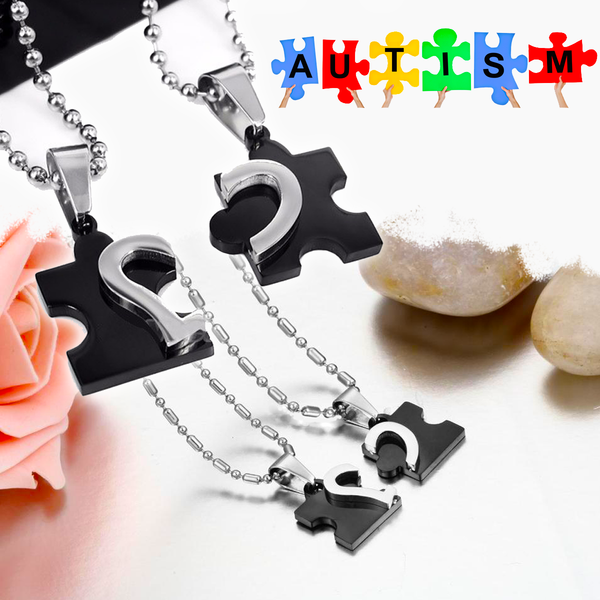 Subdued Autism Couple Necklace