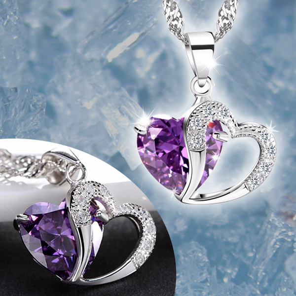 Amethyst Heart Pendant Necklace