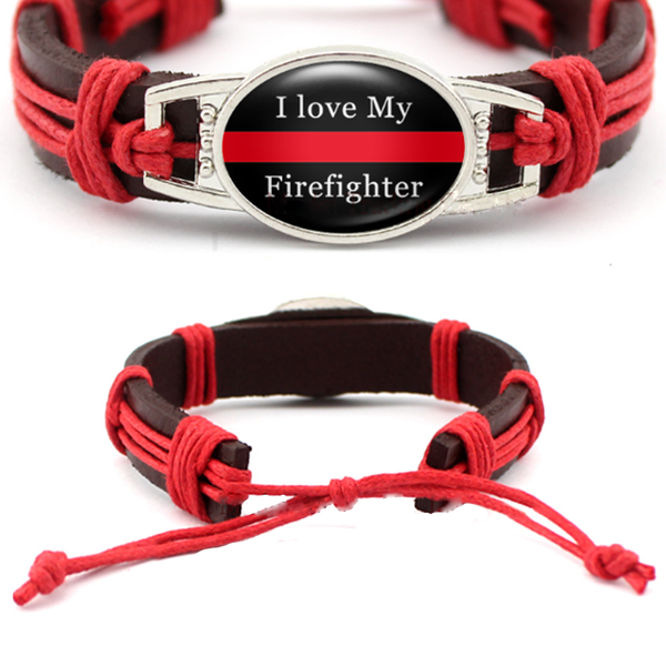 I Love My Firefighter Leather Bracelet