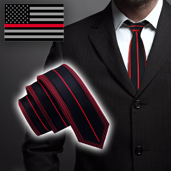 ELEGANT Thin Red Line Framed Tie