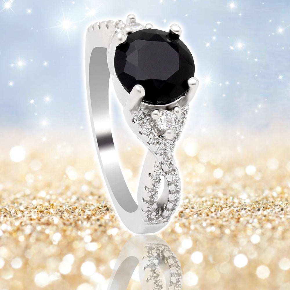 Widowed Cross Black Diamond cz Ring