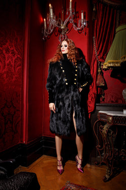 Double Breasted  Black Fox Fur Coat