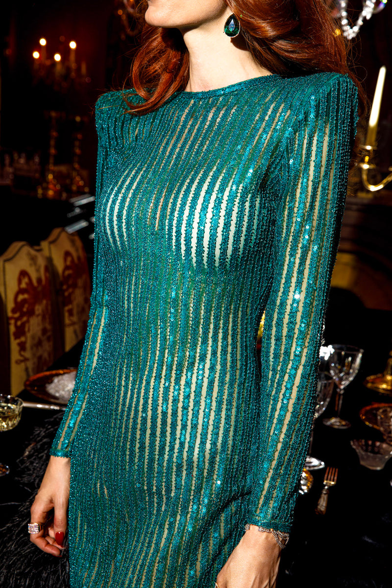 Turquoise Striped Glass Beaded Dress