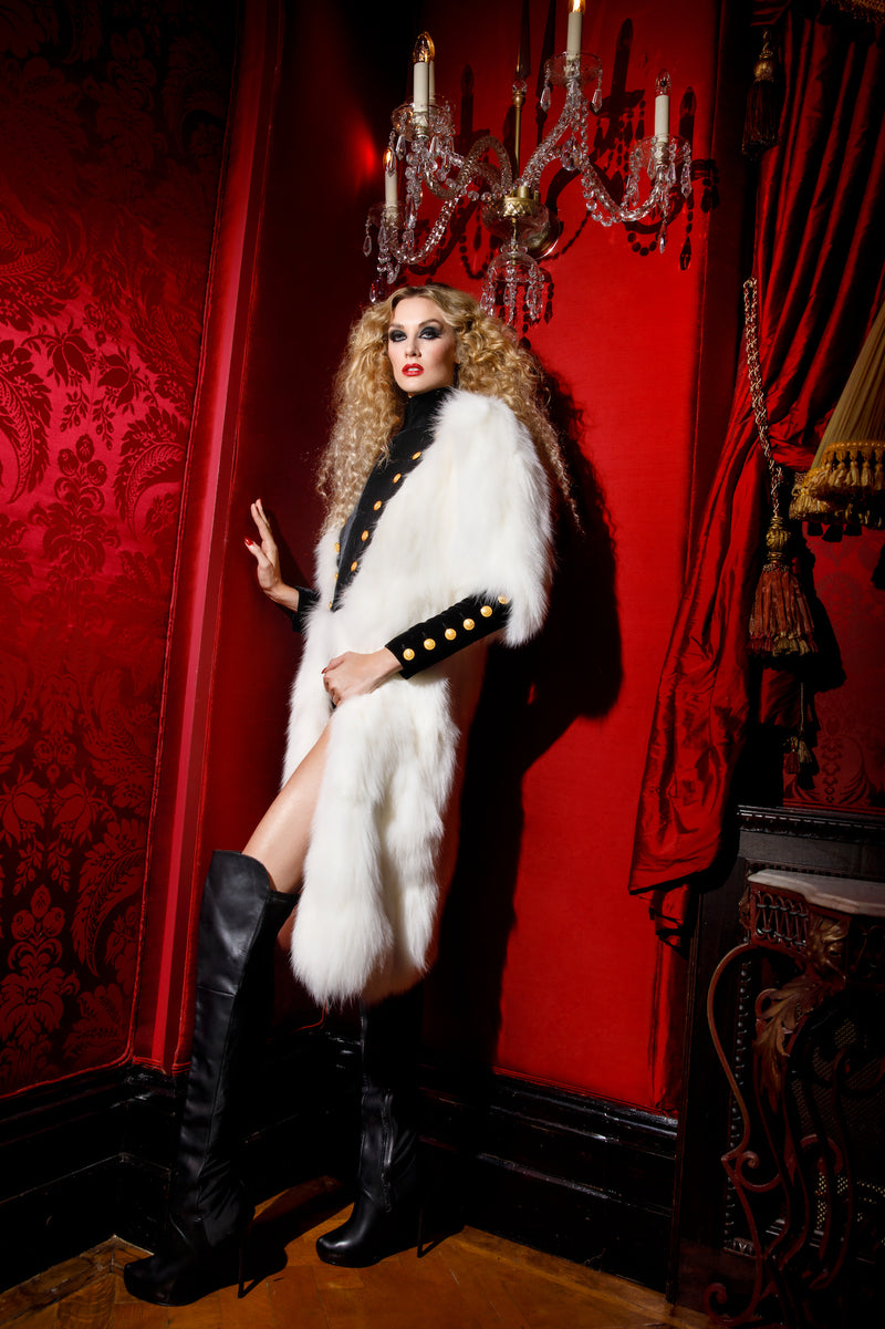 Italian White Fox Fur Coat