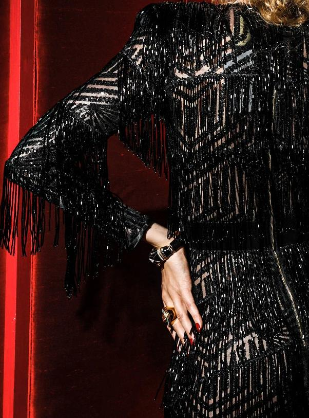 Black Crystal Fringe Sequin Evening  Dress