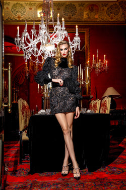 Black Satin Ribbon Lace Dress