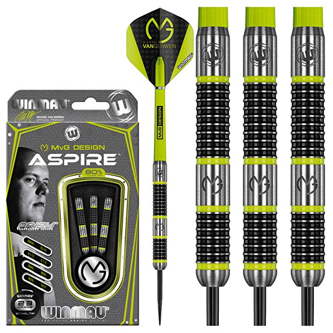 Winmau Michael van Gerwen Darts - Steel Tip - 80% Tungsten - MvG - Aspire - 21g to 26g