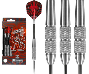 Harrows Assassin Darts - Steel Tip Tungsten - Made in England - Heavy - Knurled - 28g