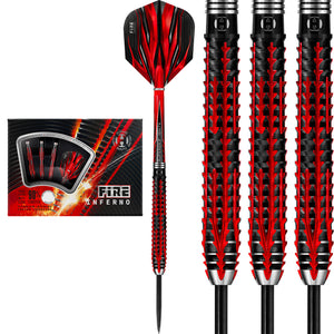 Harrows Fire Inferno - 90% Tungsten Steel Tip Darts - 21g - 26g