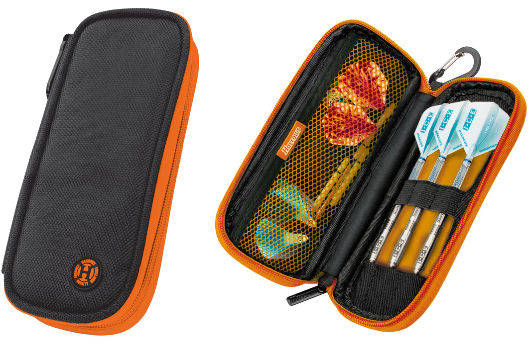 Harrows Z200 Dart Case - Dart Wallet - Holds Fully Assembled Darts - Black & Orange